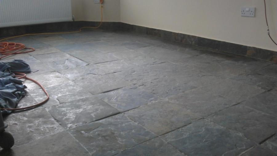 ... Slate Floor After Cleaning and Sealing