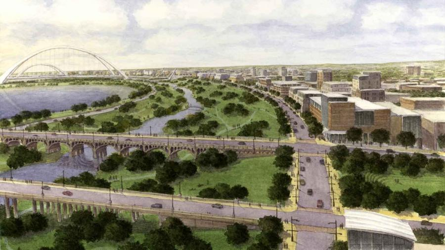 Rendering of Trinity River Project, Oak Cliff side of floodway...