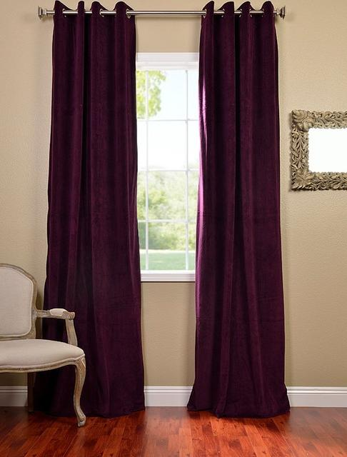 Eggplant Grommet Velvet Blackout Curtains  Drapes...