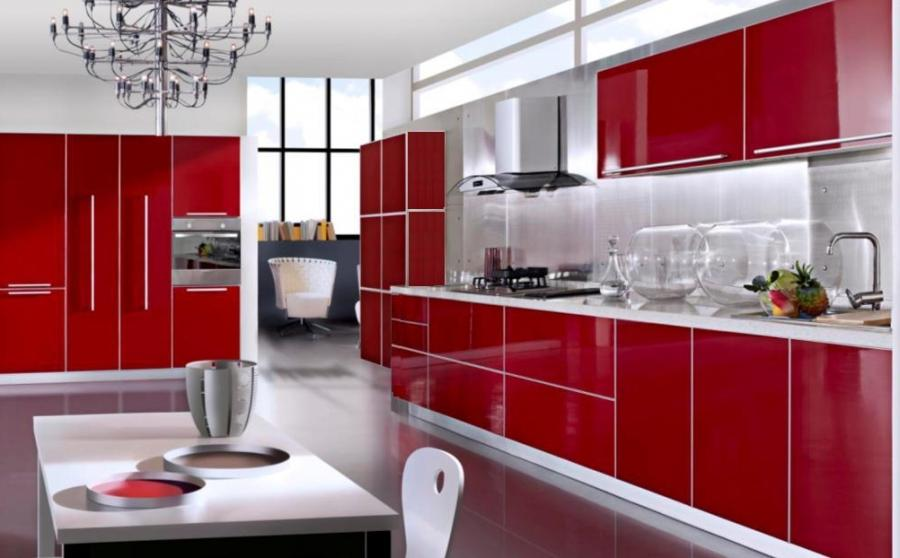 red color kitchen cabinets   Ikea red kitchen photos