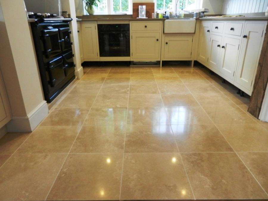 Travertine tile kitchen floor photos for Tiled kitchen floors gallery