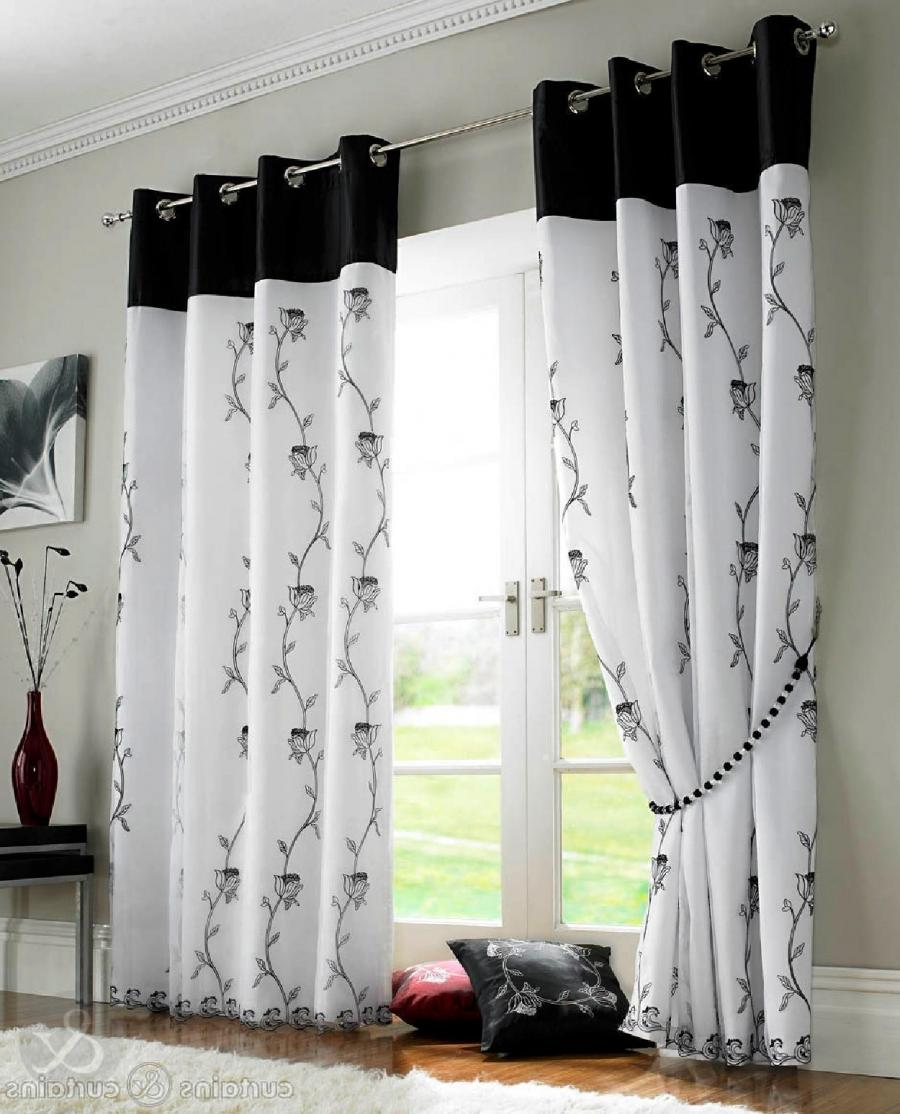 Tahiti Black White Voile Lined Ring Top Curtain