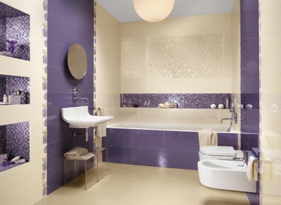 Elegance Ornament For Creative Purple Bathroom Decor With...