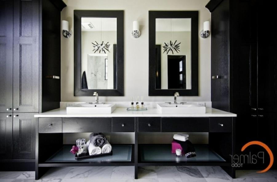 Glossy Black Cabinets Flanking Double Bathroom Idea Vanity