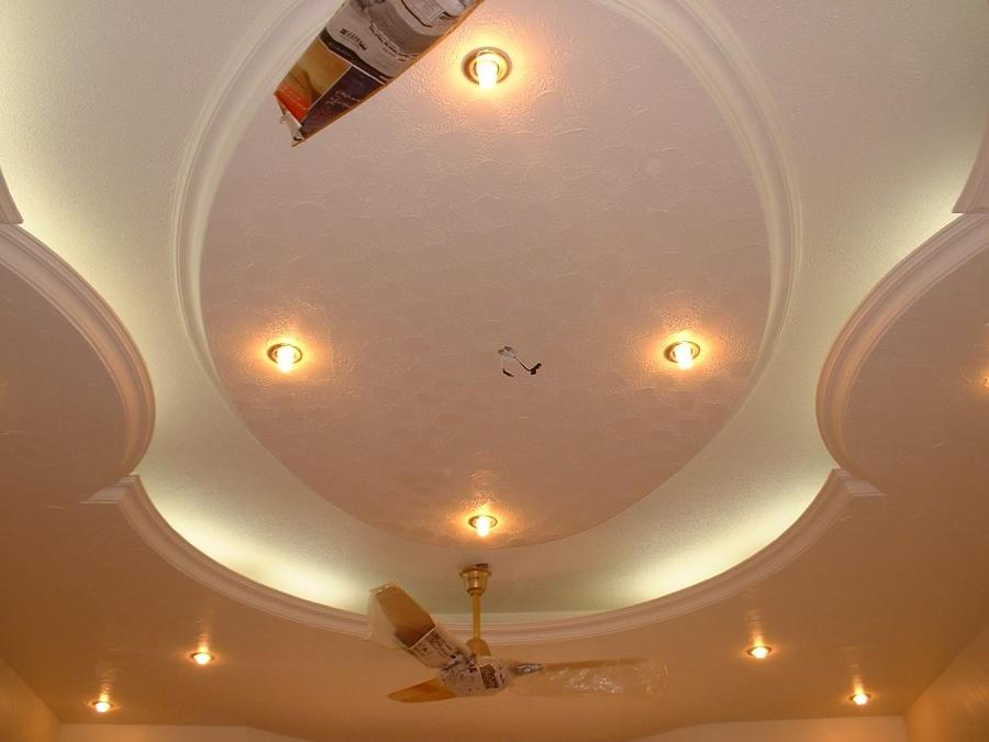 POP ceiling with ceiling fans and lighti.