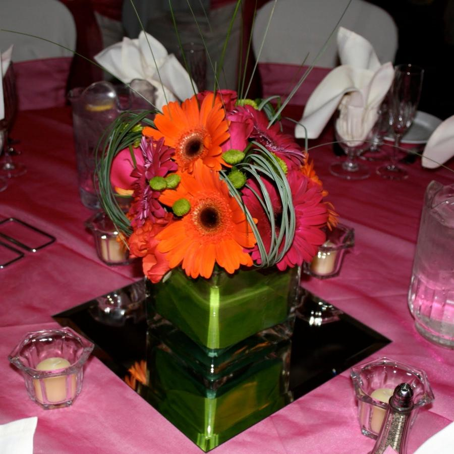 Square glass photo vase centerpiece