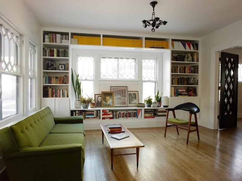 Smart and Nice Interior Design for Home Library with Full Length...