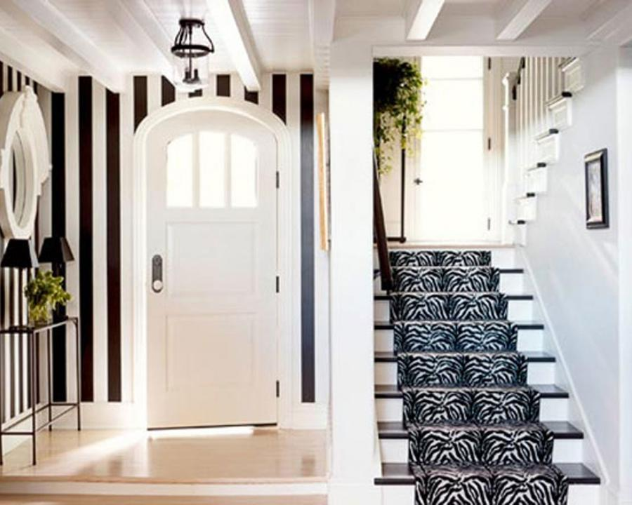 Traditional Black And White Hallway Design with ELegant Stair...