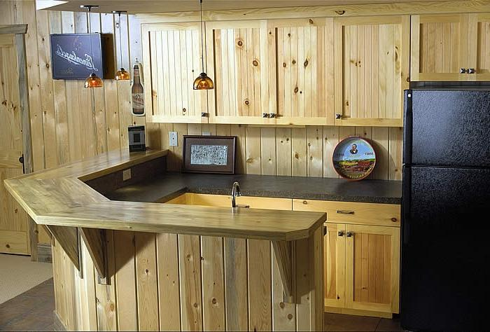 Natural Pine Cabinets lend to a rustic feel.