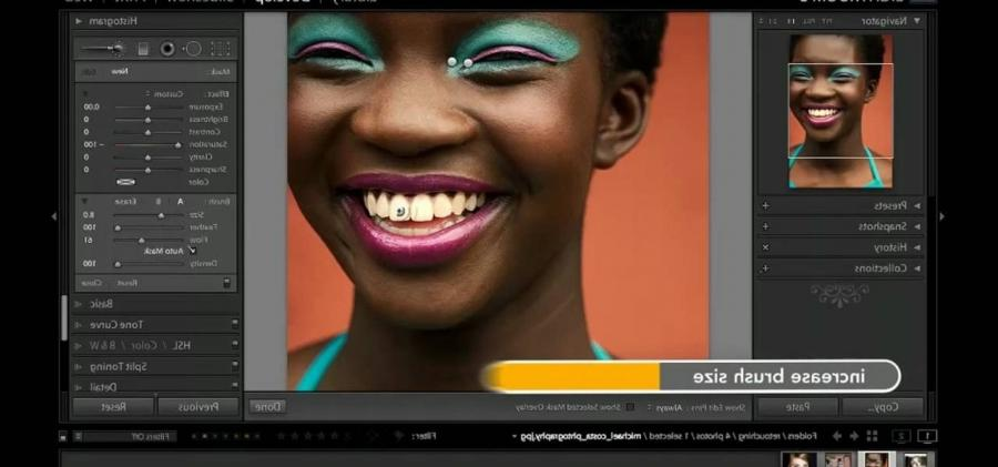 How to Use Adobe Lightroom to whiten teeth in a digital photo