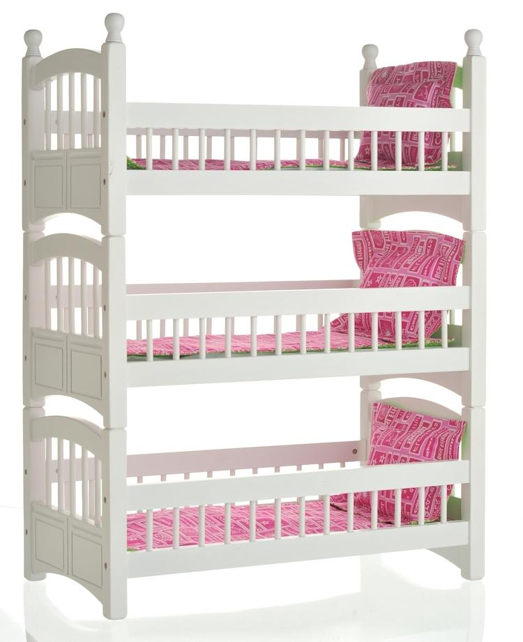 Doll Triple Bunk Bed with Hot Pink and Green Apple Linens