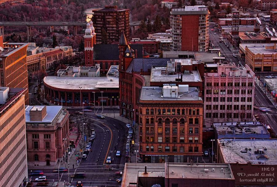 Spokane Night Scenes, photography from the roof of the Bank of...