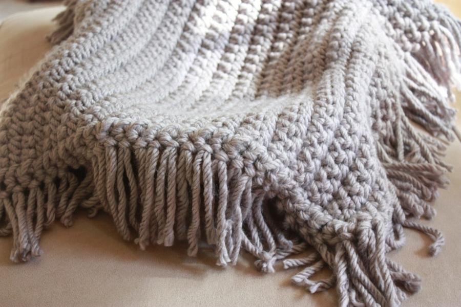 ... Gray Blanket with Fringe - Great Photo Prop