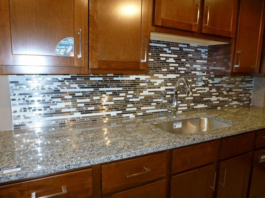 metal and white glass random strips backsplash tile mosaic source