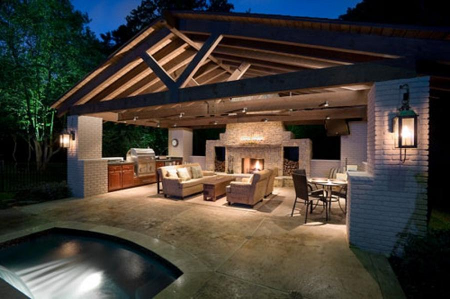Outdoor Kitchen Fireplace Photos