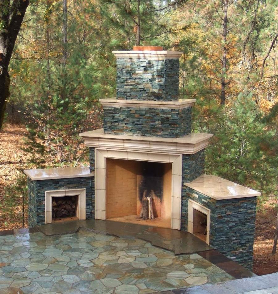 Large Outdoor Fireplace Photo