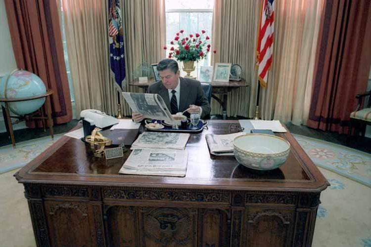 Ronald Reagan Photo Feet On Desk