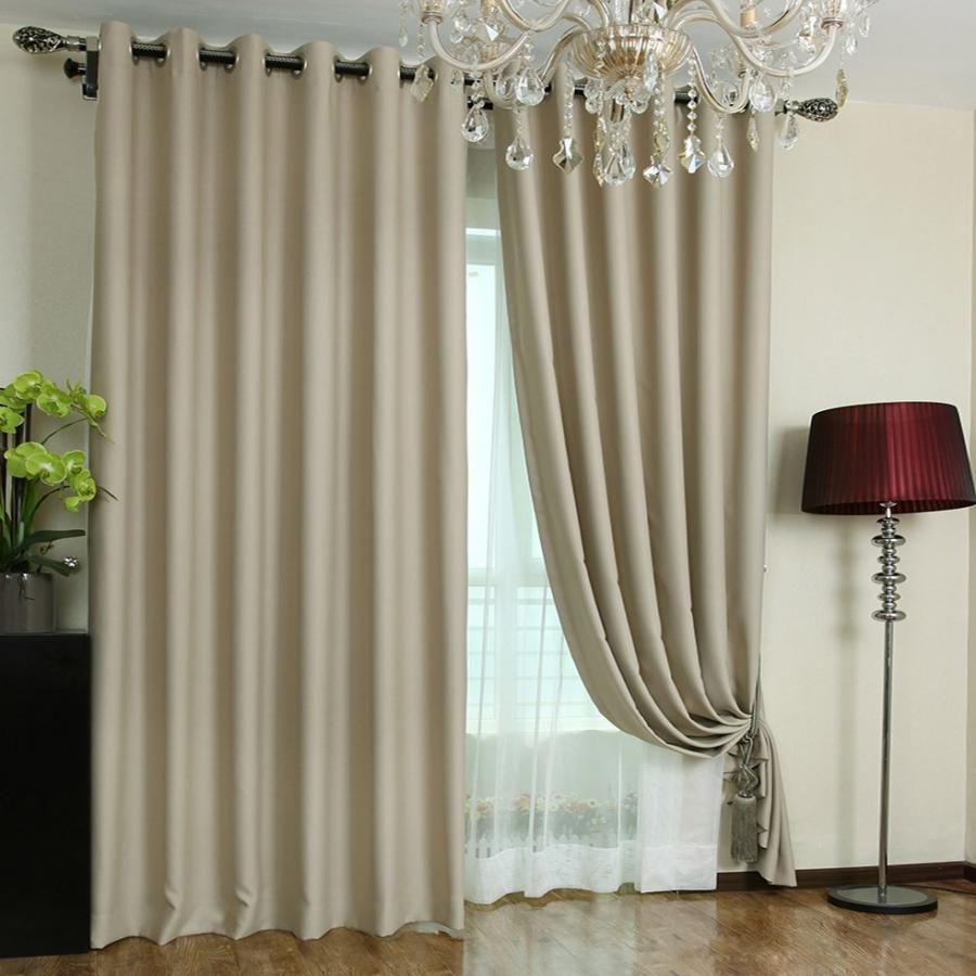 39% Deep Khaki Blackout Curtains Made of Polyester (Two Panels)