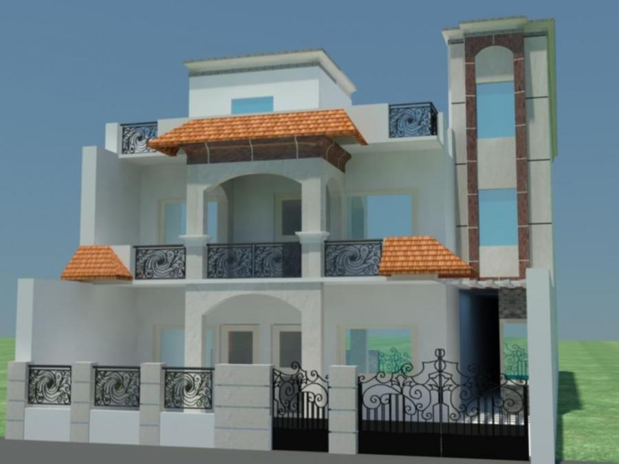 Small house front elevation photos in india for Front elevation balcony designs