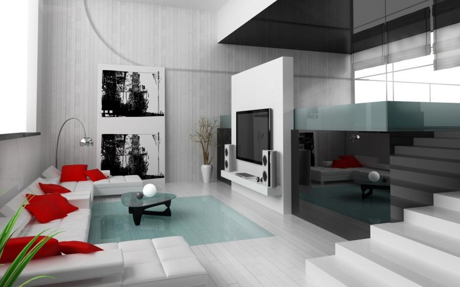 ... Red and White Living Rooms with Wooden Flooring :...