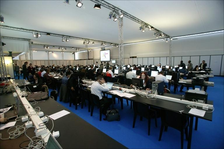 Press room at U.N. World Summit on the Information Society