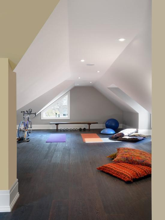 Traditional Home Gym Design Ideas In Home Attic Narrow Space: 12...