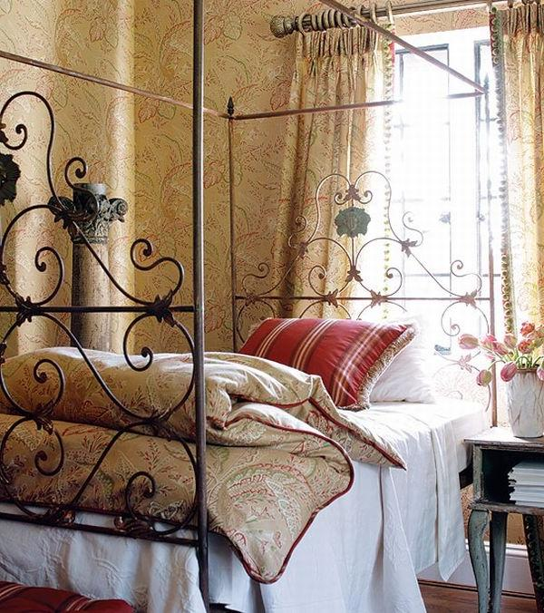 The bed here features intricate details on its frame which...