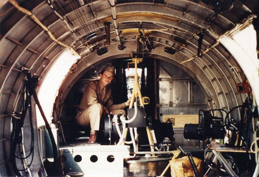 Lt. Bob Welty in the Waist Area of a Specially Equipped B-17
