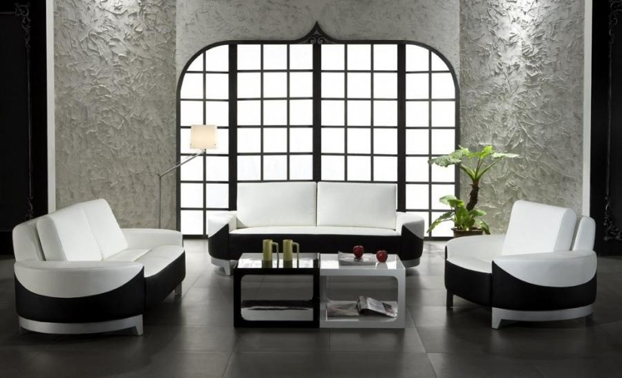 0893 Modern white and black leather 3 piece sofa set
