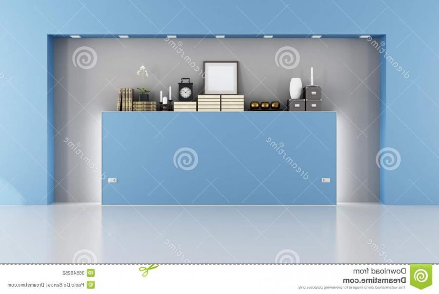 Empty blue room with niche