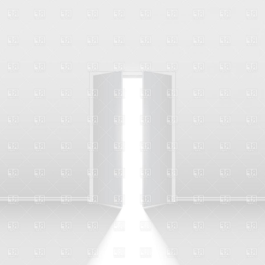 Double-leaf semi-open door and ray of light in a white room....