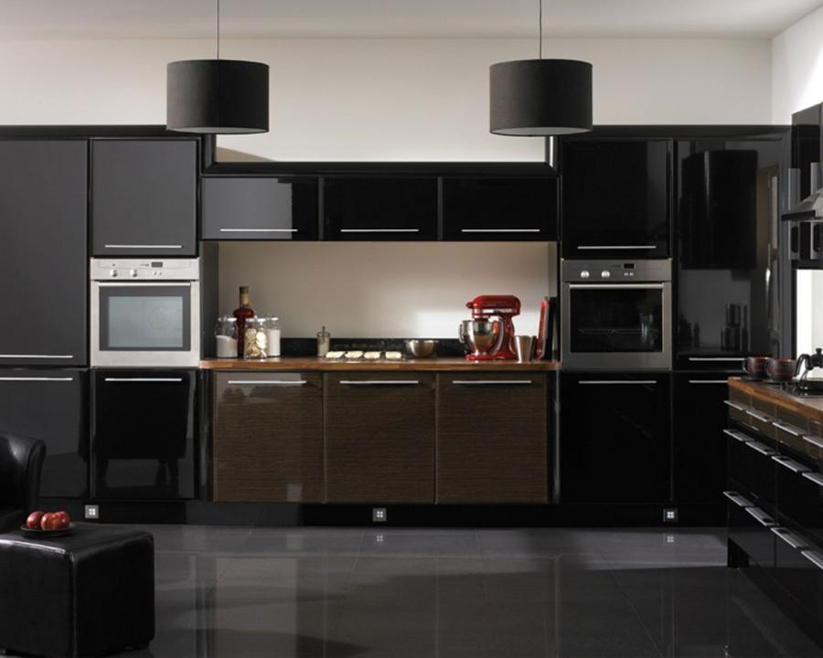 Black Kitchen Cabinets For Fancy Kitchen Design : Elegant HiGloss...