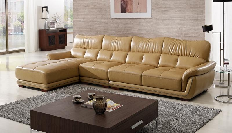 Modern Design Sofa with Chaise lounge, Yellow Top grain Cattle...