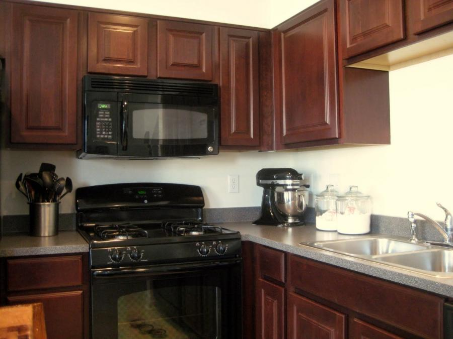 Black kitchen cabinets with black appliances photos for Kitchens with black appliances