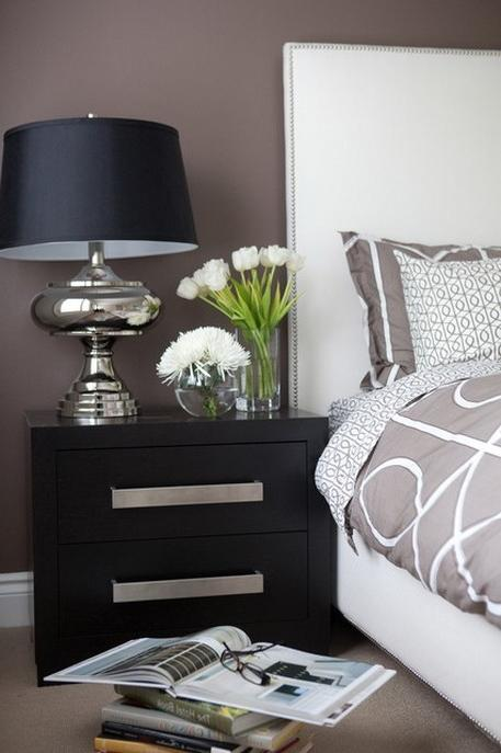 Brown Wall Color Scheme and Elegant Bedside Table in Contemporary...