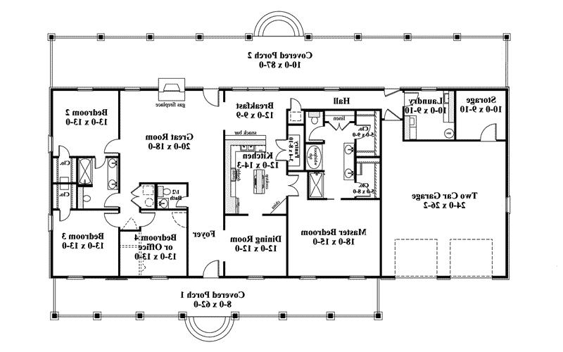 Ranch House Plan First Floor - 028D-0072 | House Plans and More