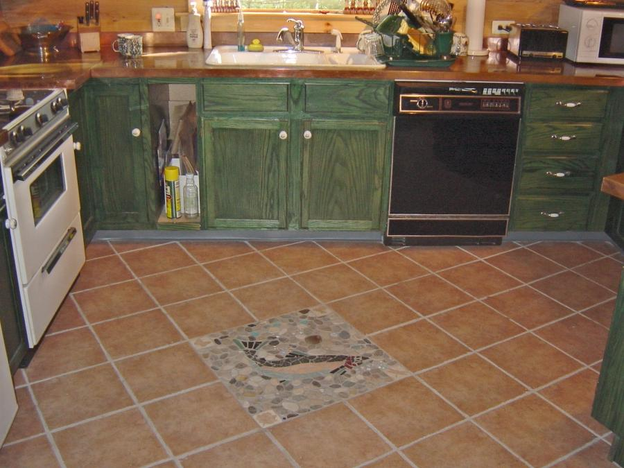 Miraculous Brown Kitchen Floor Style with Gren Cream Gray Fish...