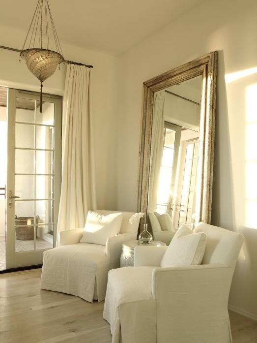 Beveled Floor Mirror Transitional bedroom The Iron Gate Curtains...