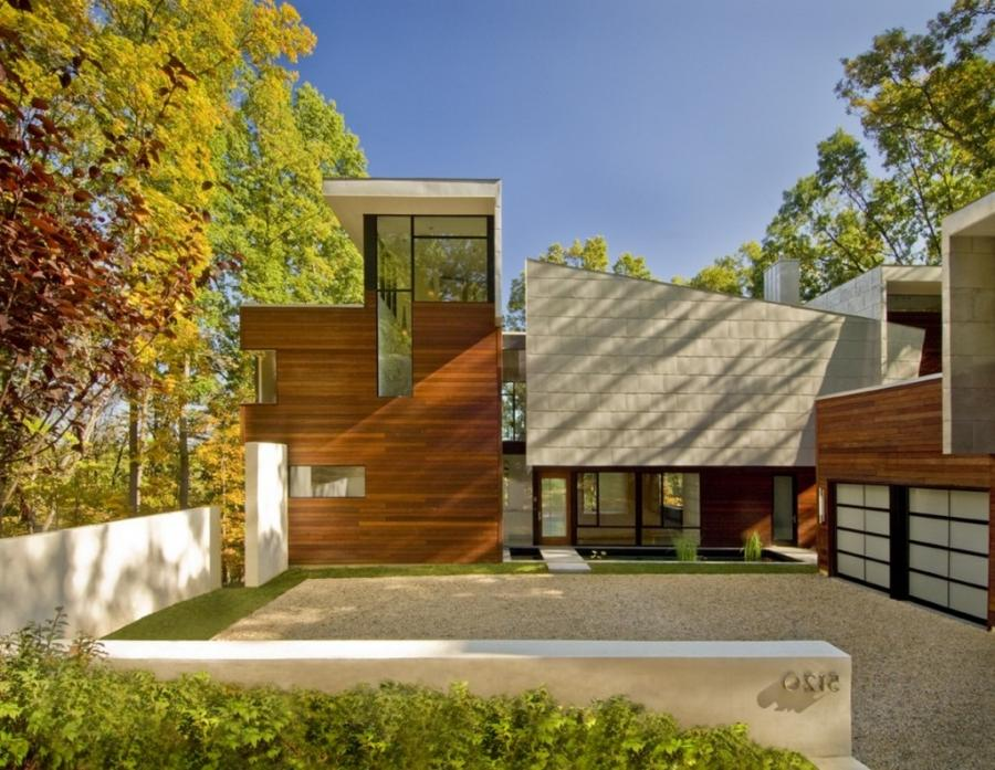 Tags: contemporary house design, glass house design in forest,...