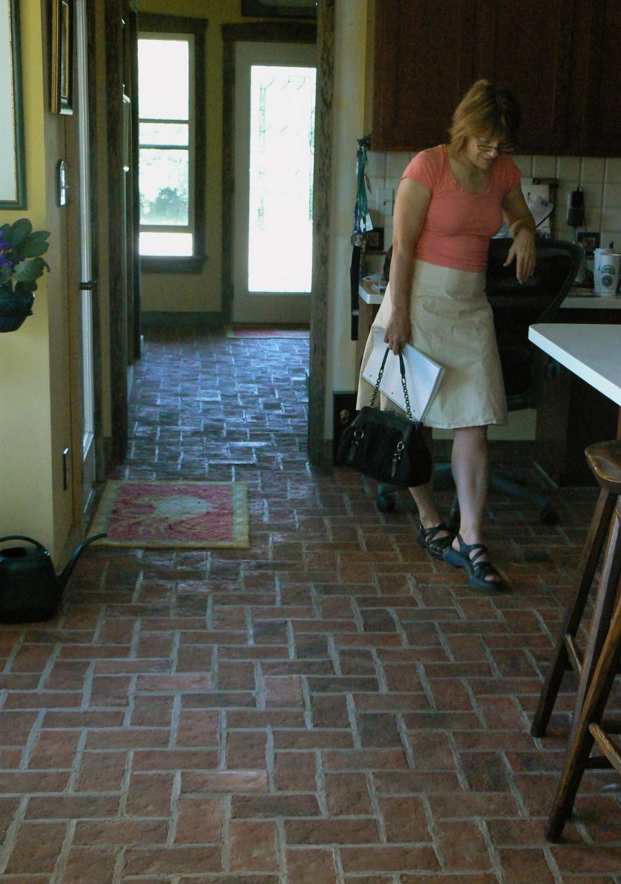 Kitchen : Flooring Beautiful Red Brick Floor Exposed With Cute...