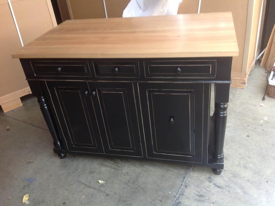 Black Distressed Kitchen Cabinets Photo