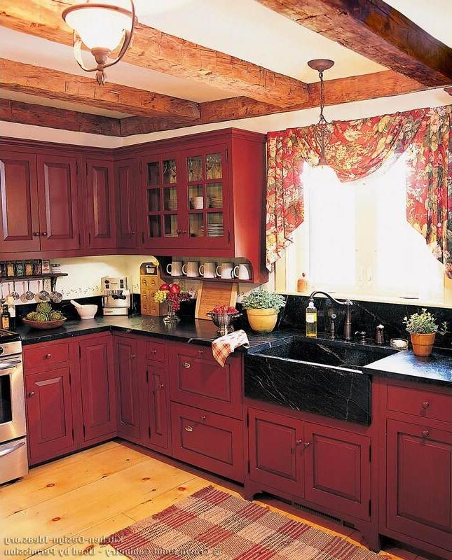 photos of kitchens with red cabinets