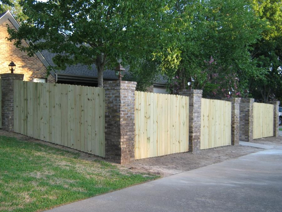Brick wood fence photos
