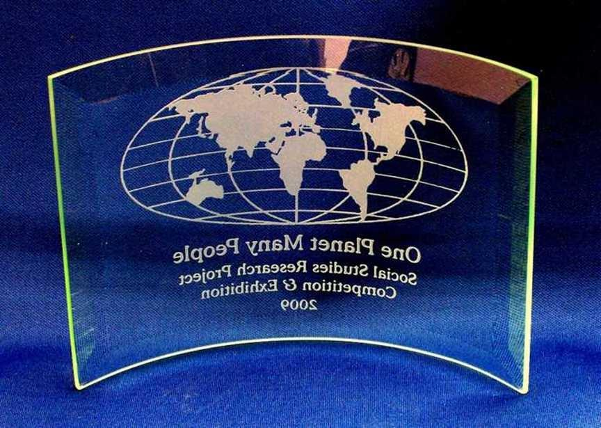 ... world map engraved on beveled bent glass plaque personalized