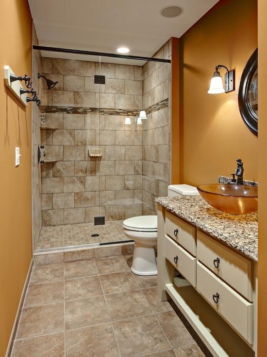 Creative Ideas, Captivating Bathroom Remodel With Wall Lamp And...