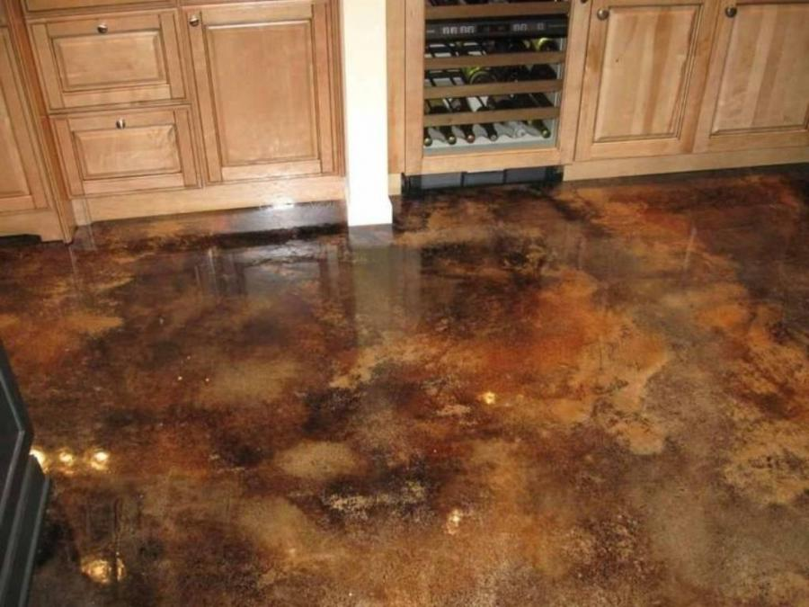Stained concrete floor photos for How to clean concrete floors indoors