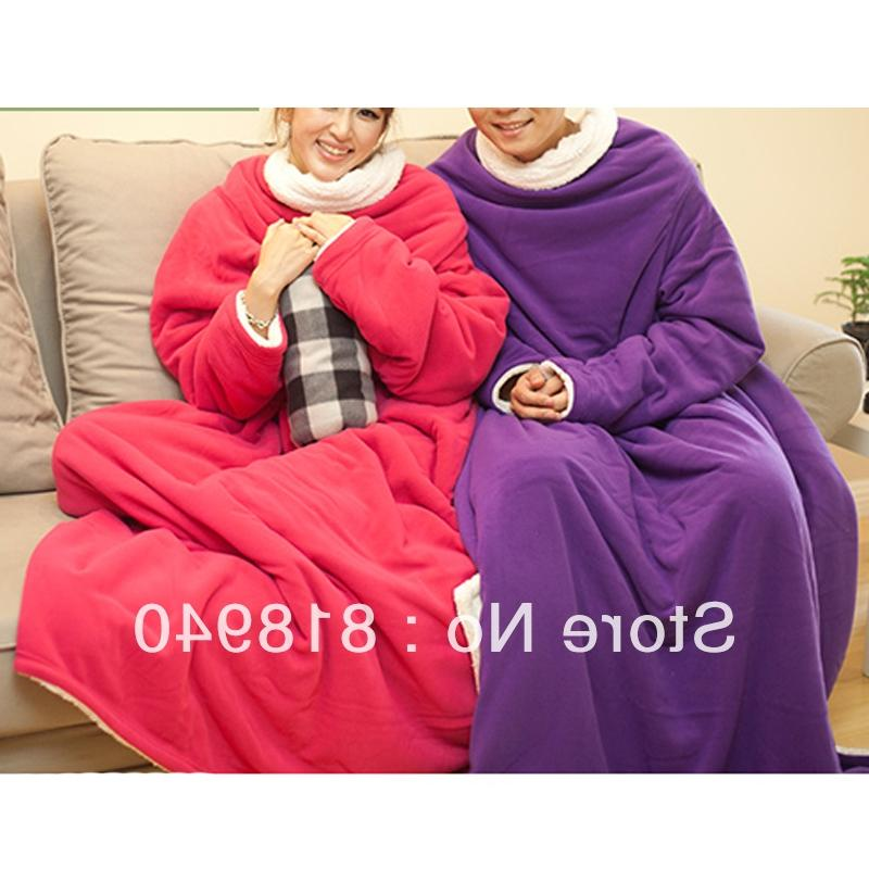 Fleece Blanket with Sleeve Comfortable Wrap Cozy T..