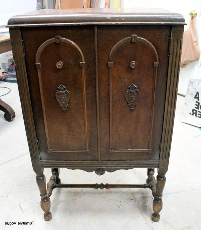 antique cabinet before makeover