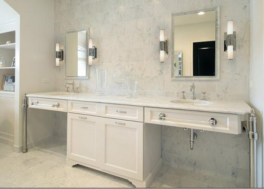 Creative Master Bathroom Decor White Vanity With Great Tone