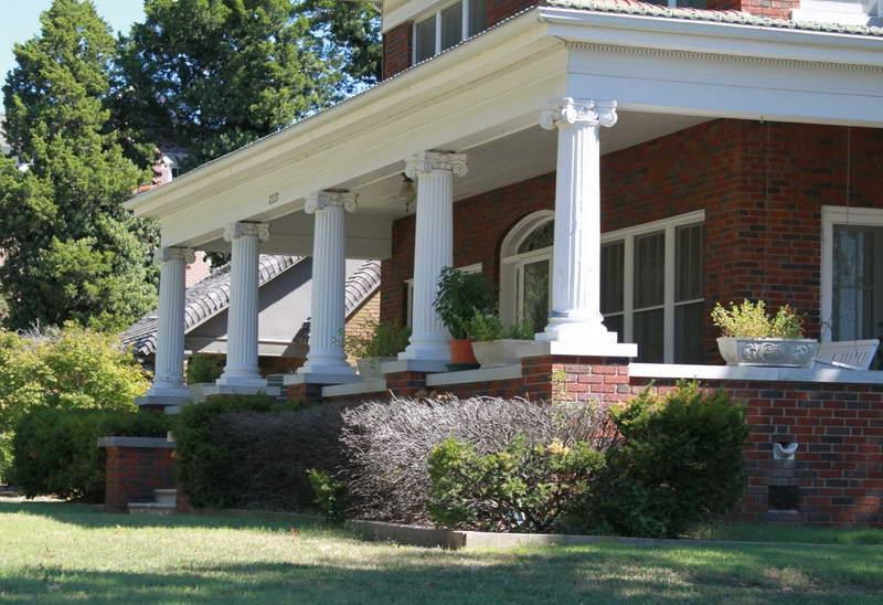 Front Porch Columns With Green Grass